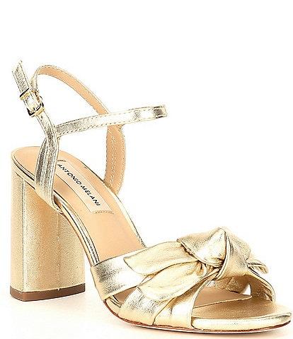 Antonio Melani Gybson Metallic Leather Knotted Dress Sandals