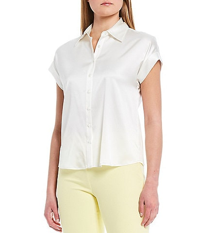 Antonio Melani Hannah Stretch Silk Button-Front Short Sleeve Blouse