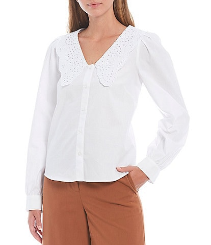 Antonio Melani Harper Long Sleeve Poplin Button Down Oversized Peter Pan Bib Collar Shirt