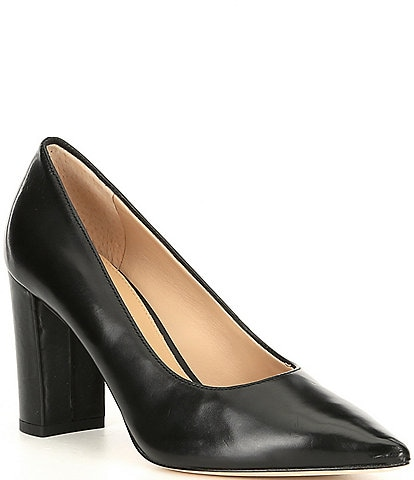 Antonio Melani Haynes Leather Block Heel Pumps