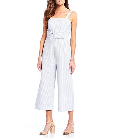 Antonio Melani Hillary Striped Square Neck Belted Waist Jumpsuit