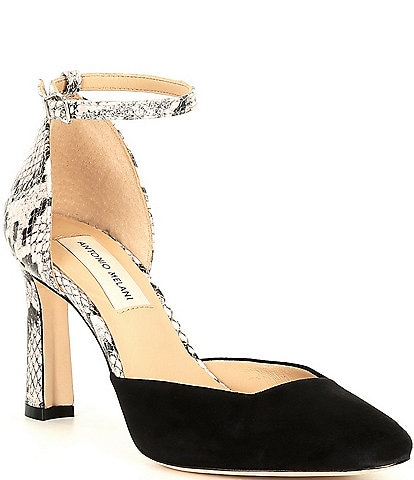 Antonio Melani Janellie Suede and Snake Print Ankle Strap Pumps