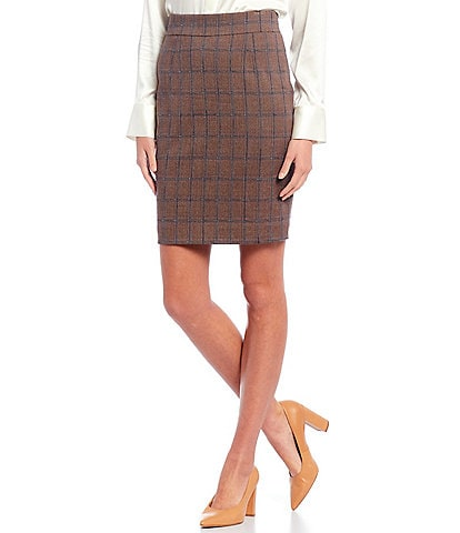 Antonio Melani Jenny Windowpane Plaid Stretch Woven Suiting Cotton Blend Pencil Skirt