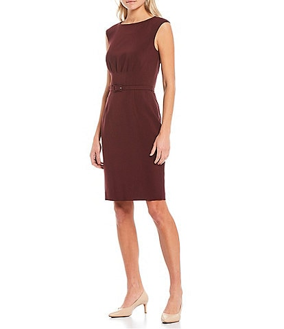Antonio Melani Joan Scuba Crepe Sleeveless Belted Sheath Dress