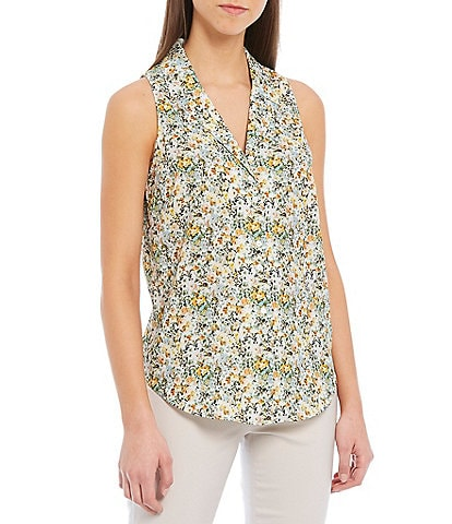 Antonio Melani Jonny Satin Floral Print Button Front Sleeveless Blouse