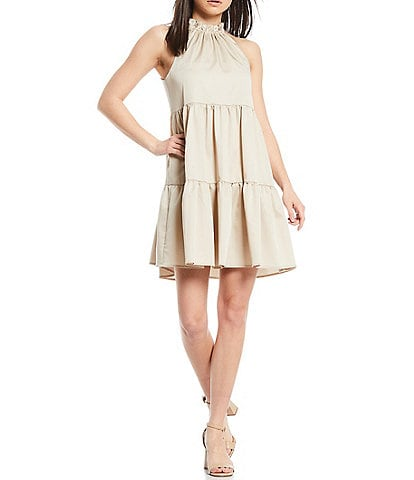 Antonio Melani Juanita Sleeveless Ruffle Halter Neck Sateen Swing Dress