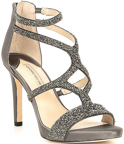 Antonio Melani Karalina Crystal Satin Criss Cross Platform Dress Sandals