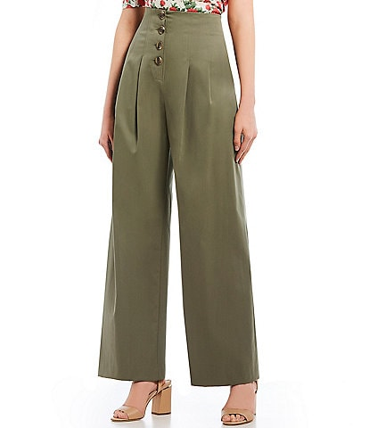 Antonio Melani Katherine High Waist Wide Leg Button Front Twill Pant