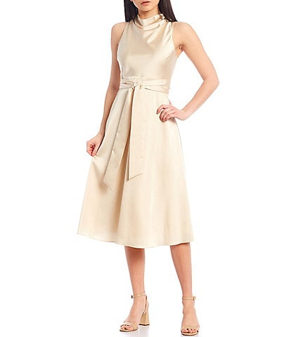 Antonio Melani Kinnon Drape Neck Satin A-Line Midi Dress