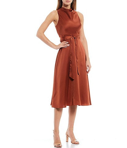 Antonio Melani Kinnon Stretch Satin High Cowl Neck Tie Waist Sleeveless Dress