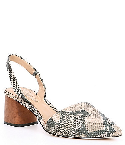 Antonio Melani Klaudi Snake Print Leather Block Heel Slingbacks