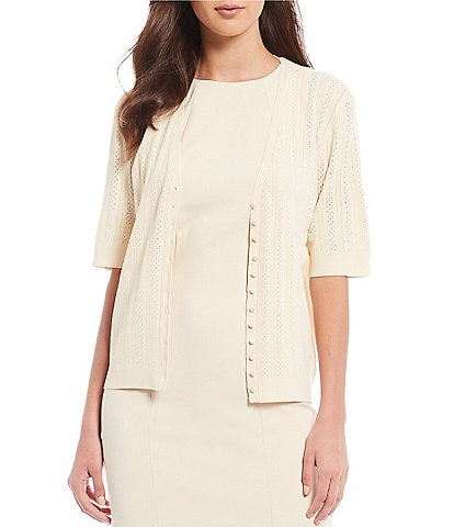 Antonio Melani Krissy Short Sleeve Button Front Cardigan