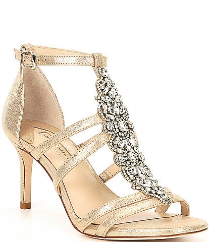 Antonio Melani Laoise Tstrap Metallic Leather Jewel Embellished Dress Sandals