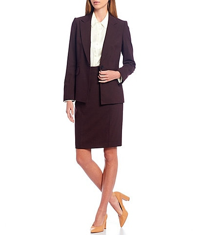 Antonio Melani Laura Cross Dye Suiting One-Button Wool Blend Jacket & Rachel Seam Detail Wool Blend Pencil Skirt