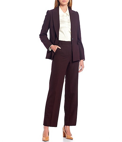 Antonio Melani Laura Cross Dye Suiting One-Button Wool Blend Jacket & Tobias Wool Blend Wide Leg Pants