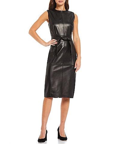 Antonio Melani Leather Round Neck Sleeveless Sheath Courtney Dress