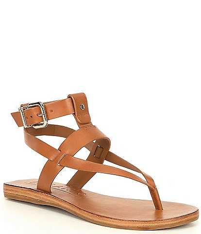 Antonio Melani Ledger Leather Gladiator Flat Sandals