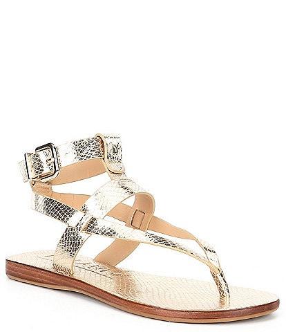 Antonio Melani Ledger Metallic Leather Gladiator Flat Sandals