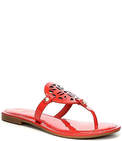 Antonio Melani Lindenie Patent Leather Flat Sandals