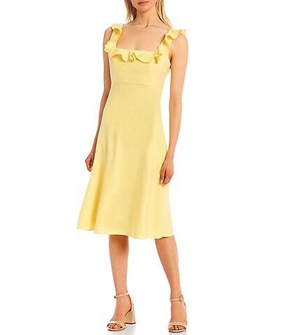 Antonio Melani Livia Linen Square Neck Sleeveless Ruffled Dress