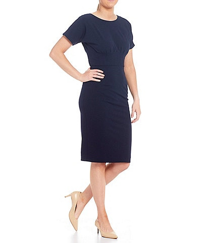Antonio Melani Liz Scuba Crepe Pleated Waist Midi Sheath Dress