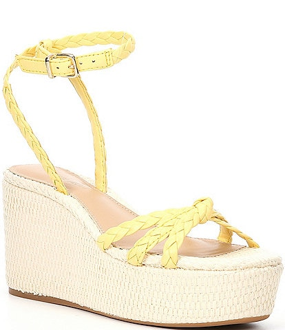 Antonio Melani Lorinna Leather Woven Ankle Strap Wedges