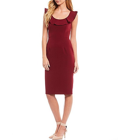 Antonio Melani Luna Ruffle Scoop Neck Sleeveless Stretch Crepe Sheath Dress