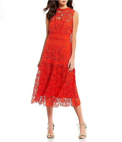 Antonio Melani Luna Sleeveless Tiered Lace A-Line Midi Dress