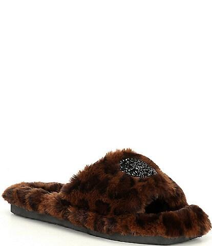 Antonio Melani Lushhh Leopard Print Faux Fur Slippers