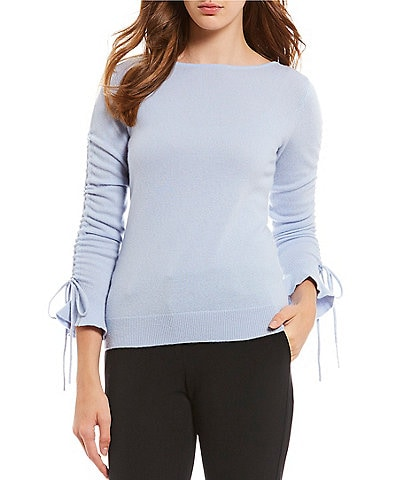 Antonio Melani Luxury Collection Cashmere Ruched Sleeve Penelope Sweater
