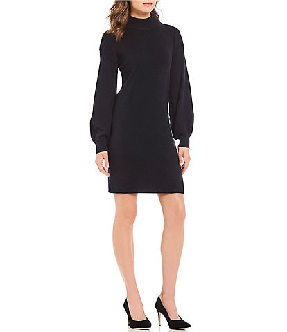 Antonio Melani Luxury Collection Colette Cashmere Bishop Sleeve Mock Neck Sweater Dress