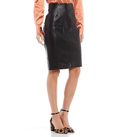 Antonio Melani Luxury Collection Genuine Leather Caroline Pencil Skirt