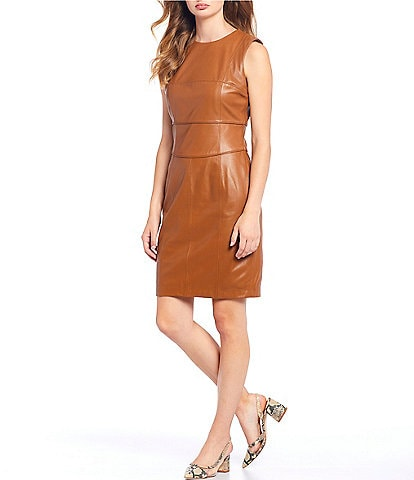 Antonio Melani Luxury Collection Genuine Leather Elizabeth Sheath Dress
