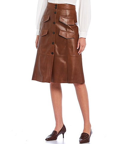 Antonio Melani Luxury Collection Genuine Leather Faux Button Front & Pocket Harper Skirt