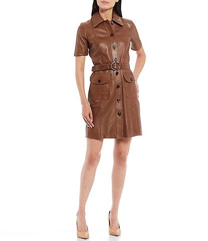 Antonio Melani Luxury Collection Isla Genuine Leather Belted Short Sleeve Button Front Shirt Dress