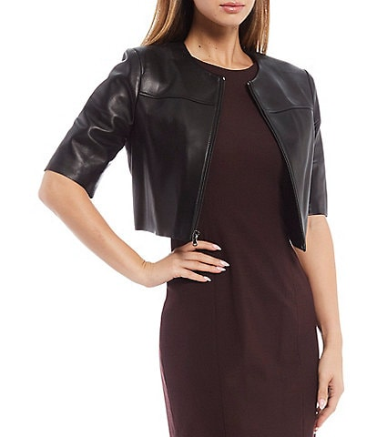 Antonio Melani Luxury Collection Lea Genuine Leather Crop Jacket