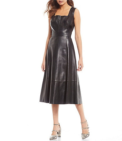 Antonio Melani Luxury Collection Norah Square Neck Genuine Suede Leather A-Line Midi Dress