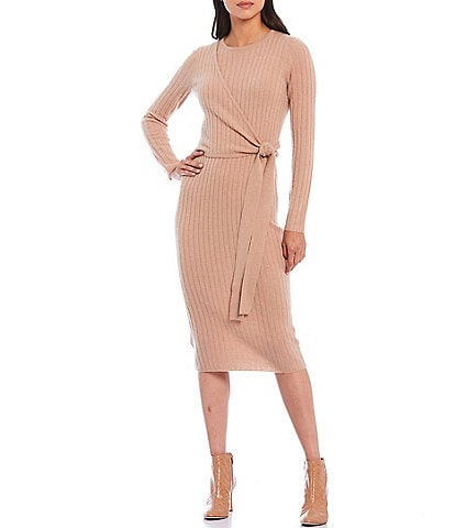Antonio Melani Luxury Collection Sabine Cashmere Faux Side-Wrap Long Sleeve Midi Dress