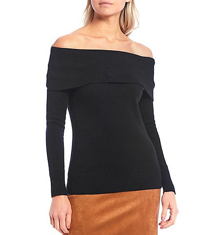 Antonio Melani Luxury Collection Tiffany Cashmere Off-The-Shoulder Long Sleeve Sweater