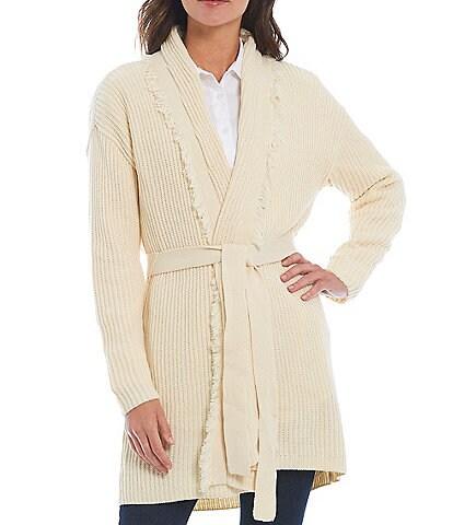 Antonio Melani Maisee Belt Long Sleeve Fringe Cardigan