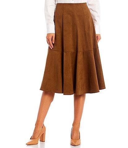 Antonio Melani Maisee Suede High Rise Elastic Waist Midi Skirt