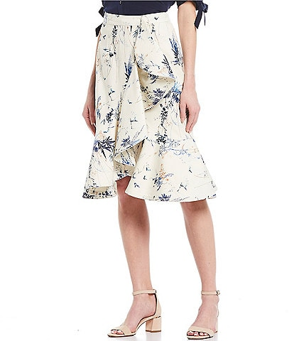 Antonio Melani Maria Floral Print Cotton Blend Sateen Faux-Wrap Side Ruffle Midi Skirt