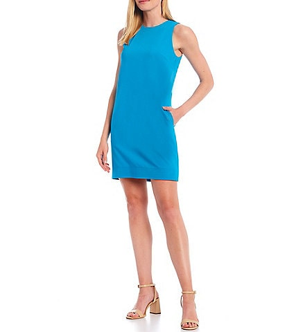 Antonio Melani Mayssi Round Neck Sleeveless Sateen Shift Dress