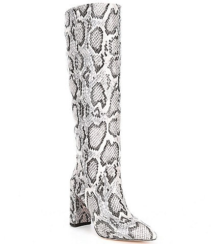 Antonio Melani Mckenda Snake Print Leather Tall Block Heel Boots