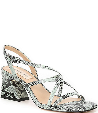 Antonio Melani Merced Snake Printed Leather Strappy Block Heels