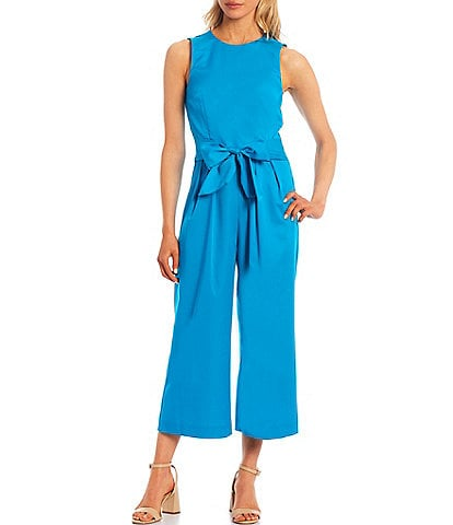 Antonio Melani Meredith Sleeveless Crew Neck Sateen Tie Waist Jumpsuit