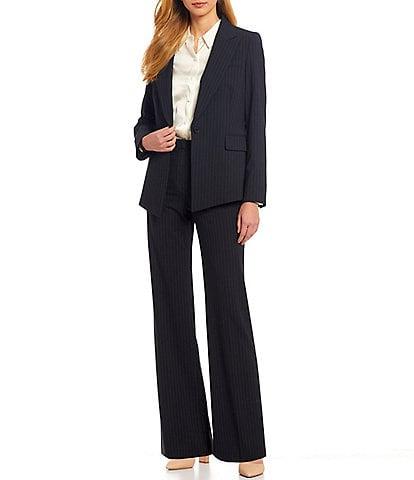 Antonio Melani Micah Long Sleeve Pinstripe Wool Blend Suiting Jacket & Artemis Wide Leg Pinstripe Wool Blend Suiting Pant
