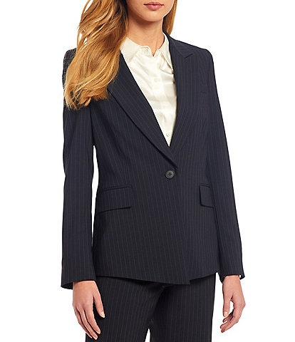 Antonio Melani Micah Long Sleeve Pinstripe Wool Blend Suiting Jacket