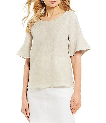 Antonio Melani Mila Linen Short Bell Sleeve Scoop Neck Blouse