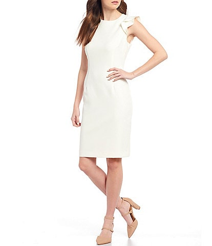 Antonio Melani Molly Stretch Crepe Round Neck Ruffle Cap Sleeve Sheath Dress